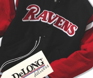 DeLong Sportswear had divisions that included letterman jackets, outerwear, embroidered caps, and team uniforms.