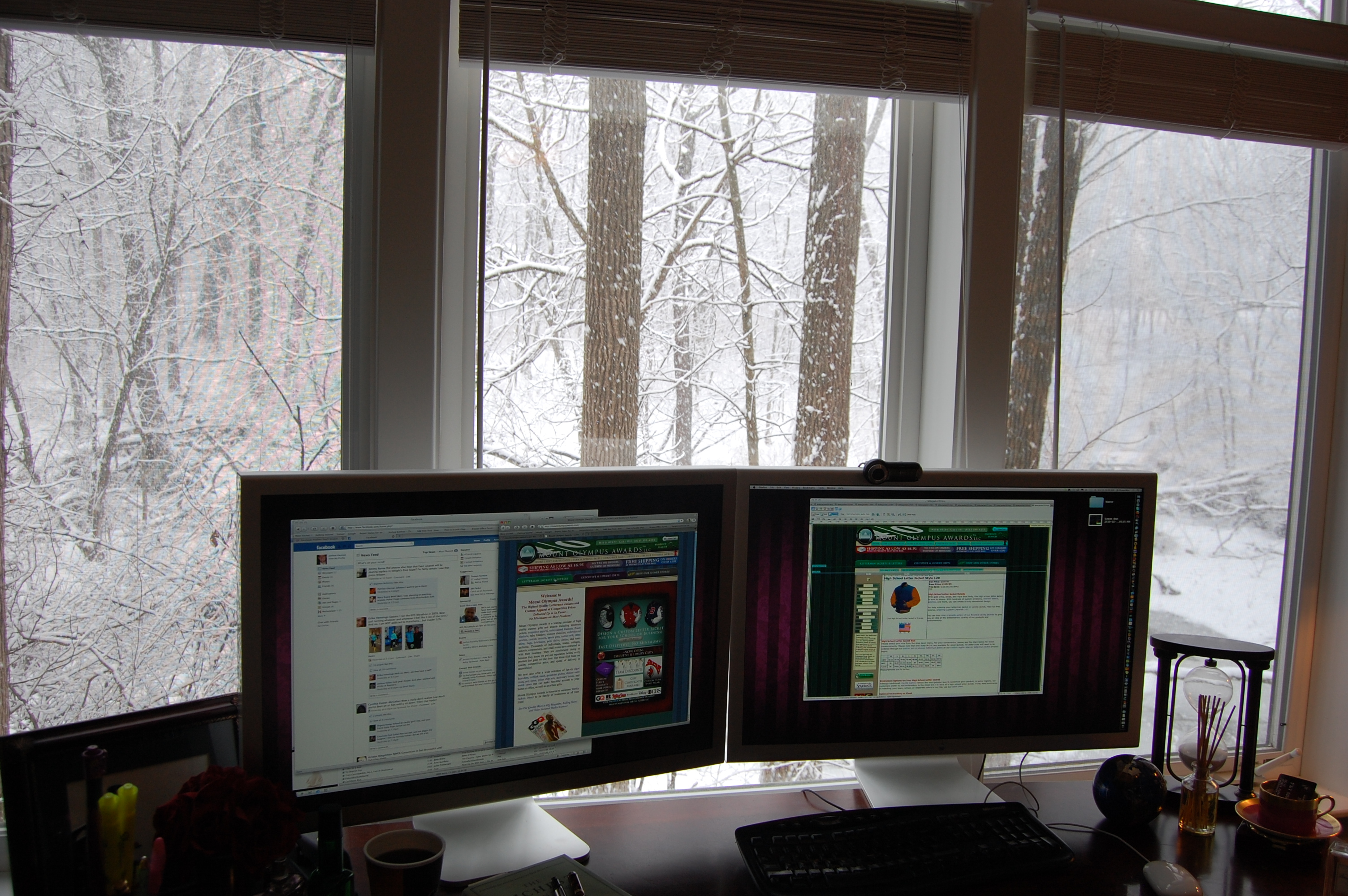 Joshua Kennon Desk During Snow Storm