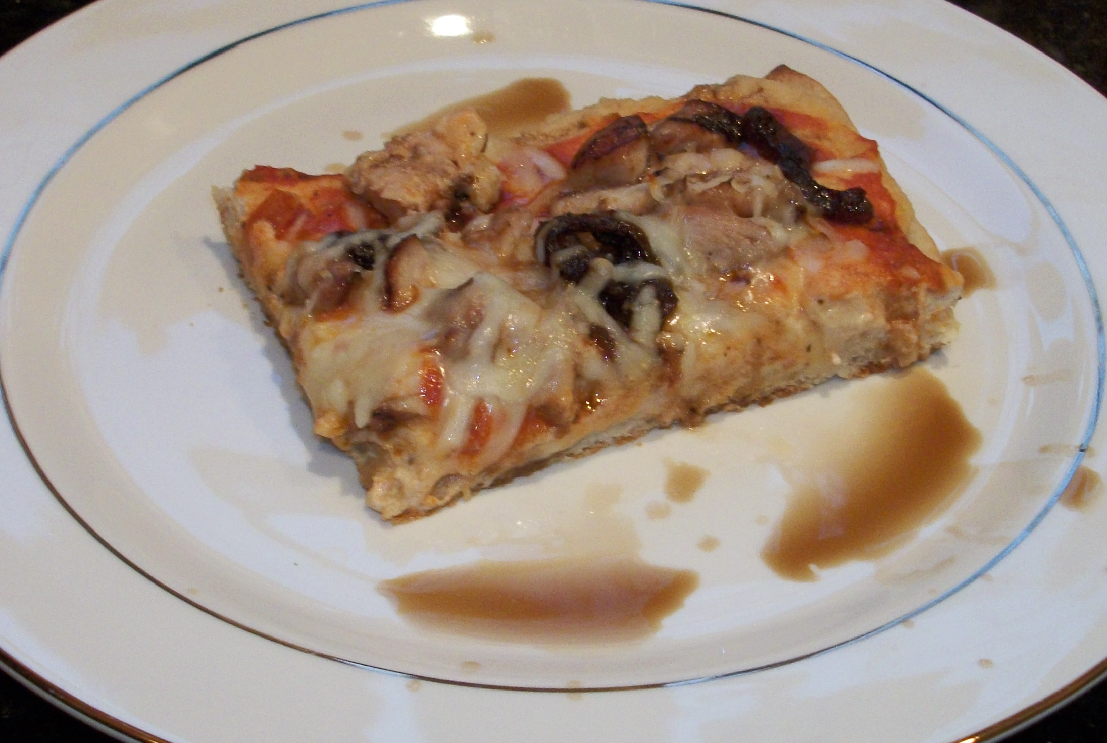 Slice of Homemade Balsamic Chicken Pizza