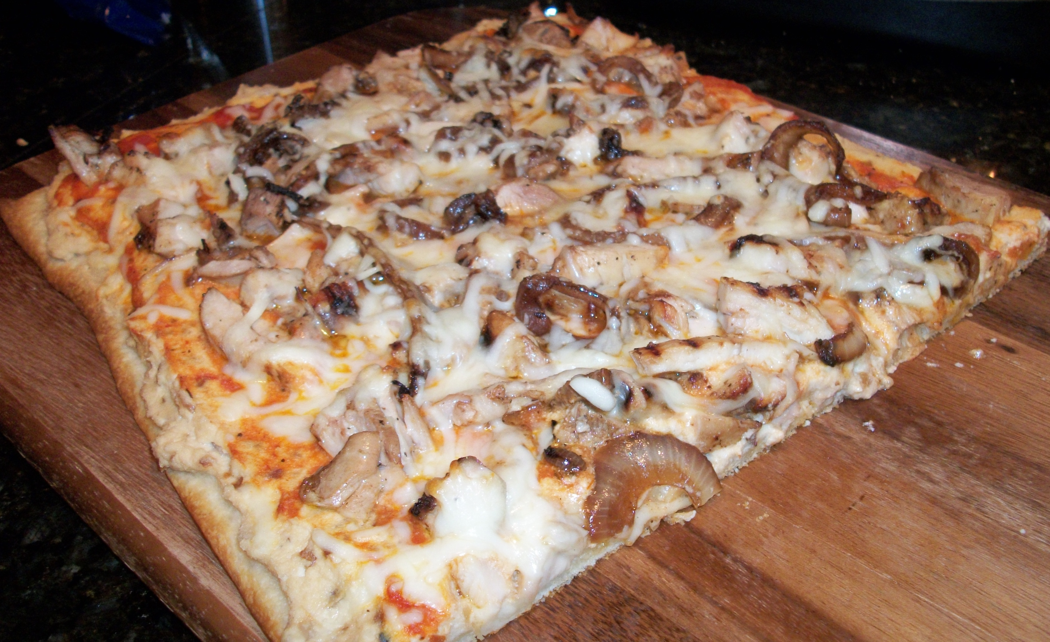 Balsamic Chicken Pizza with Ricotta Cheese and Sauteed Onions Fresh from the Oven