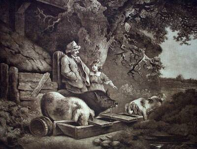 19th Century Peasant with Pigs