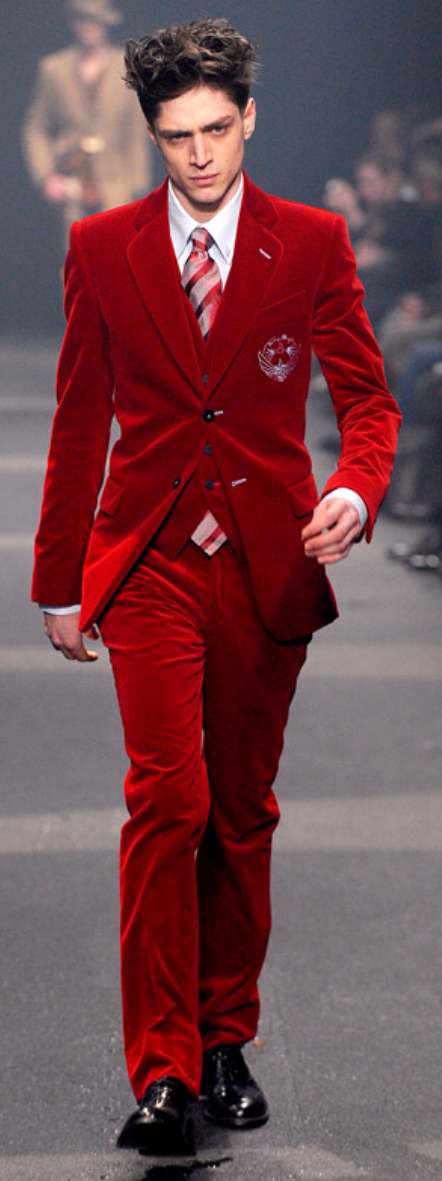 Thierry Mugler Scarlet Velvet Suit Look No. 8