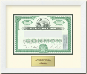 Framed Share of Coca-Cola Common Stock as a Gift