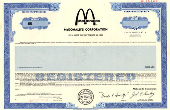McDonald's Bond Certificate Corporate Debentures