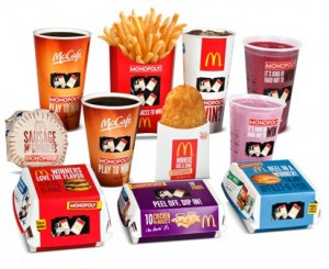 McDonald's Monopoly Game Pieces on Food