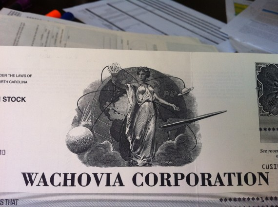Wachovia Stock Certificate Prior to Wells Fargo Merger