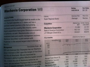 Wachovia Stock Report