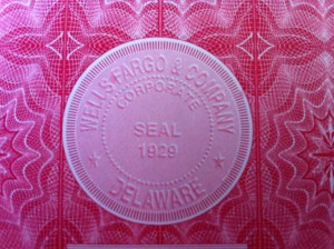 Wells Fargo Stock Certificate Seal