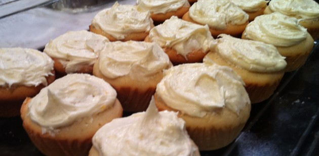 Lemon Icing and Lemon Frosting Freshly Smothered onto the Lemon Cupcakes