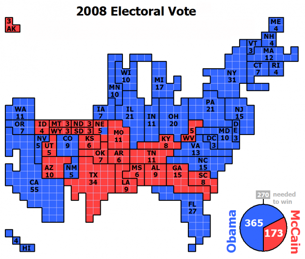 United States Electoral College Vote in 2008 Presidential Election