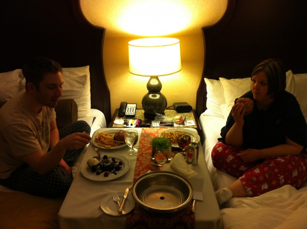 Aaron and Tammy Eating Room Service