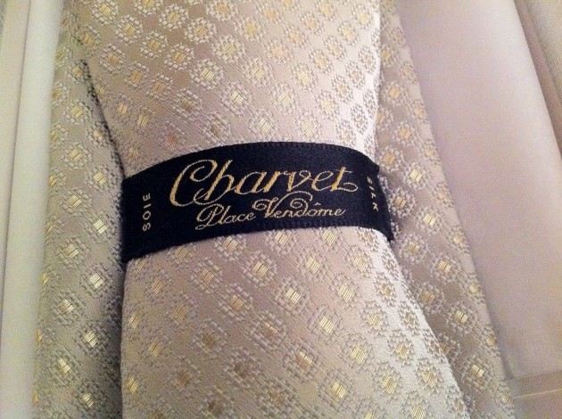 Back of Gold and Ivory Charvet Tie