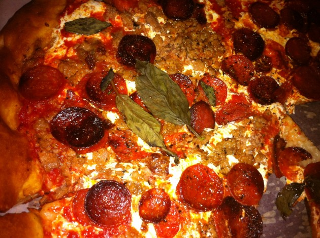 Close Up of New York Pizza from Angelo's on West 57th Street