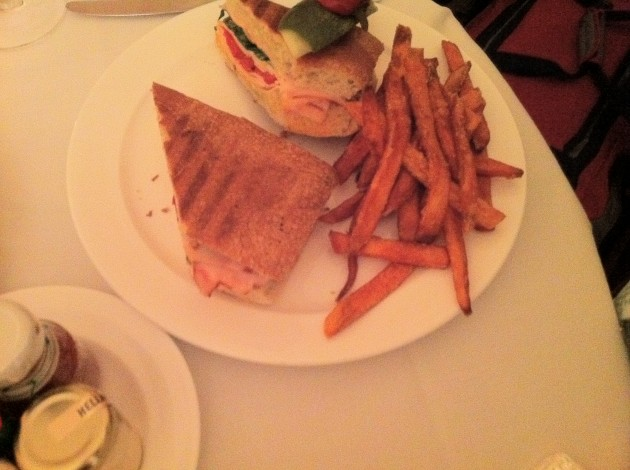 Goat Cheese Panini with Sweet Potato Fries