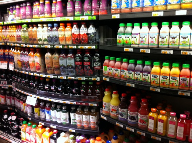 Juice Display at NYC Grocery Store