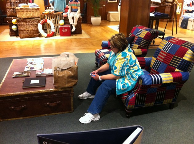 Mom Waiting as We Shopped