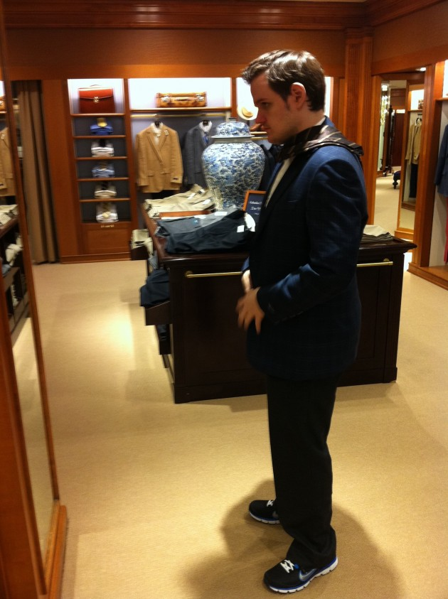 Trying on Sports Coats at Brooks Brothers