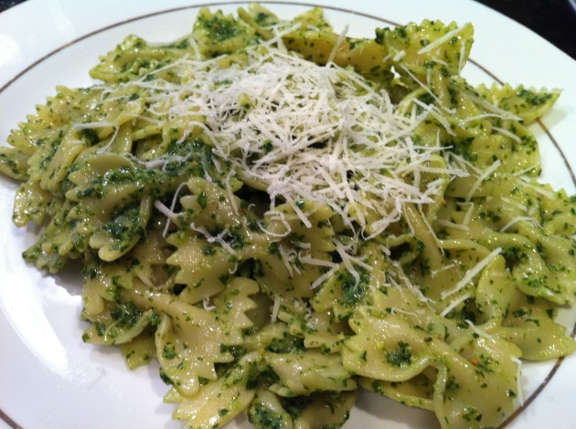 Bow Tie Pesto with Parmesan Cheese