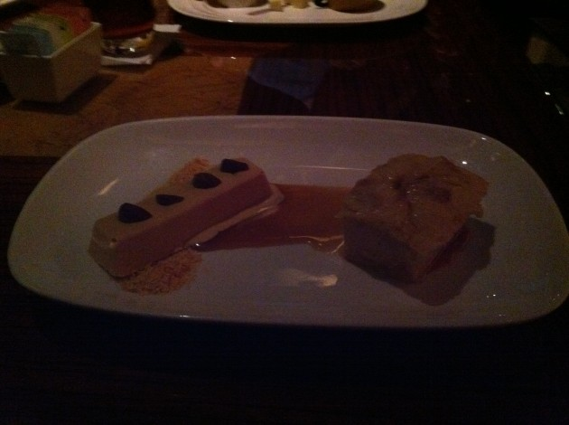 Ian's Dessert at Jiko was a chocolate infused dessert bar with a dessert bread.