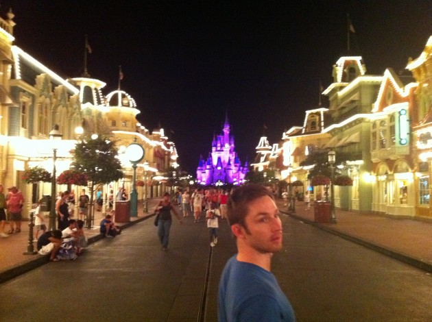 Aaron About to Walk Down Main Street at the Magic Kingdom in Walt Disney World