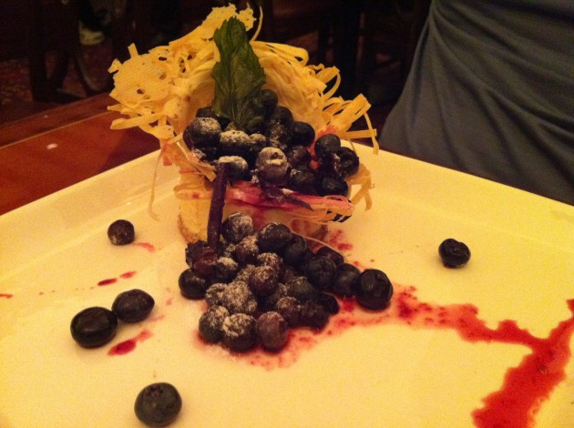 Ian's dessert was a work of art.  It was a citrus honey nest filled with candied ginger blueberries over a lemon cheesecake.