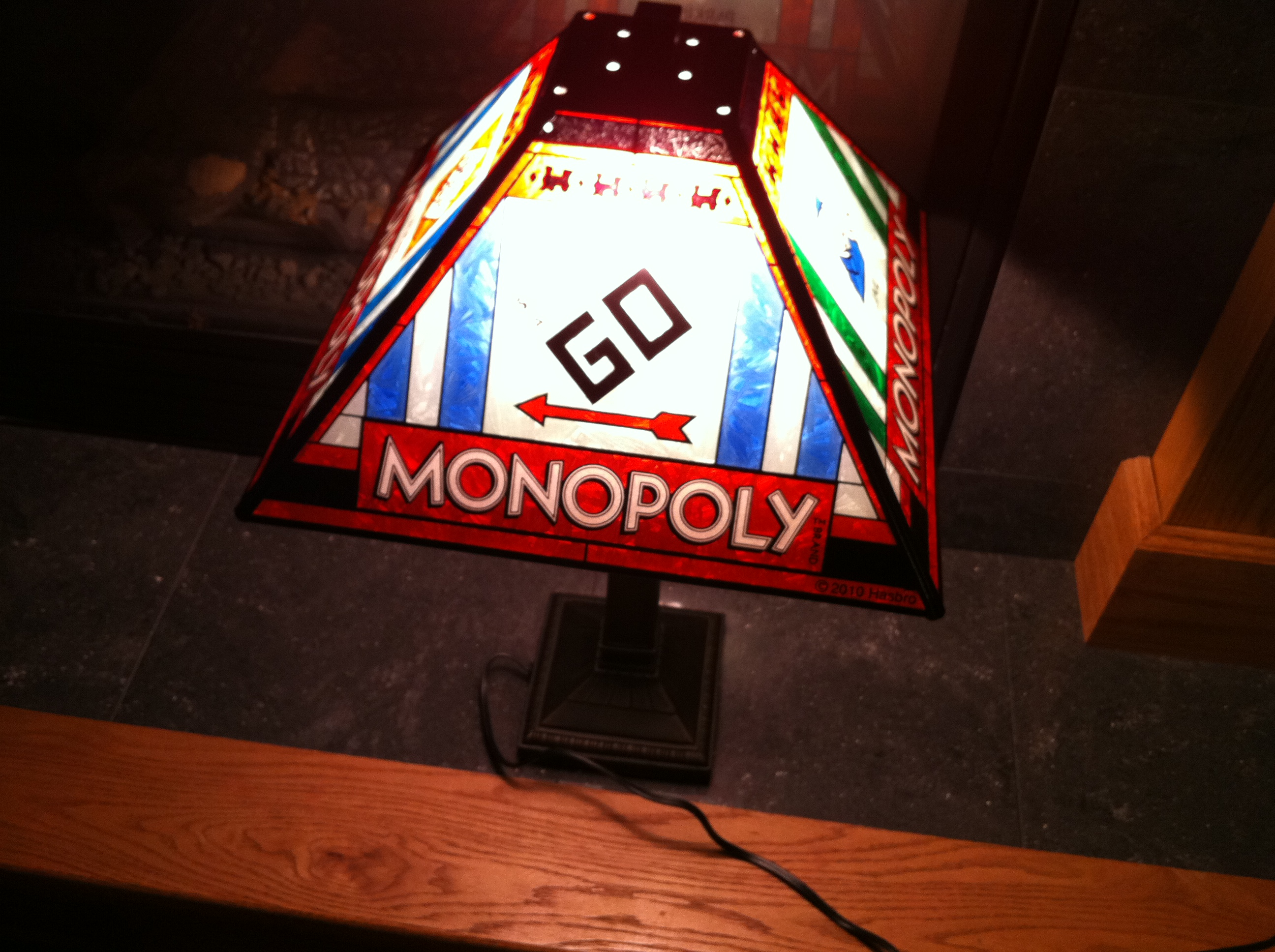 Monopoly Stained Glass Lamp Go Side