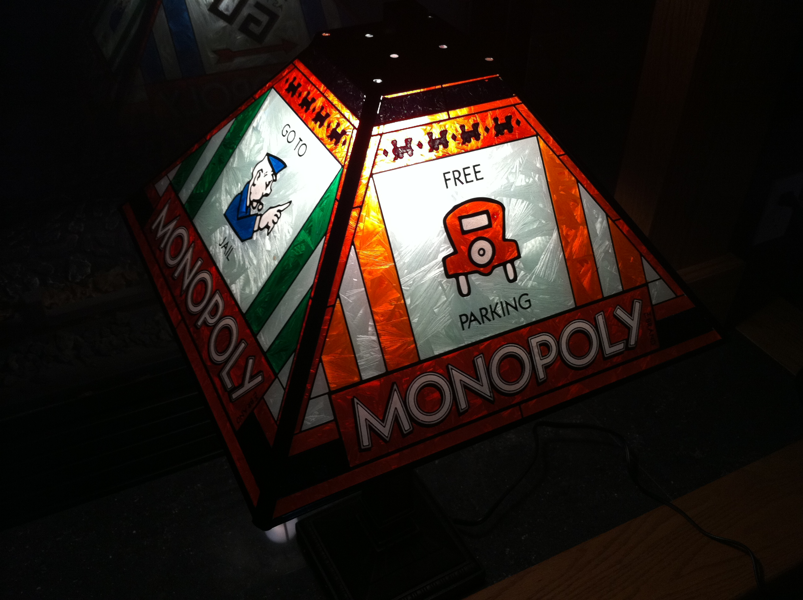 Monopoly Tiffany Stained Glass Lamp