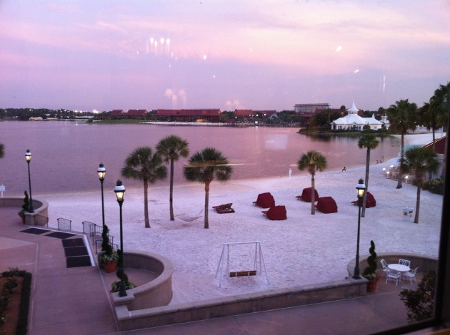 View of the Polynesian Resort at Sunset from The Grand Floridian Resort at Walt Disney World