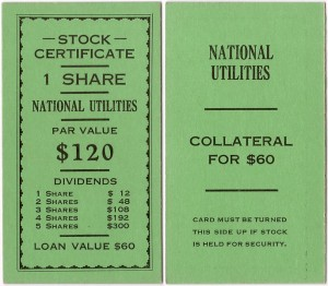 Monopoly Stock Exchange Add-On Stock Certificate