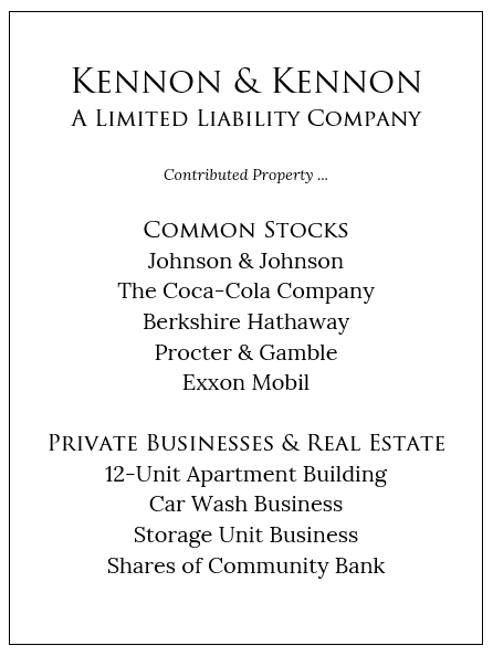 Kennon & Kennon Fictional Example of Family Holding Company with Contributed Property Boxed