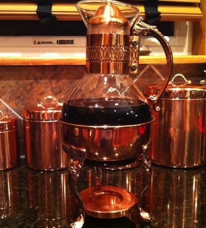 Copper Coffee Pot with Corning Glass