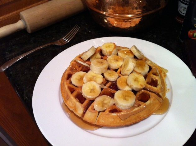 Peanut Butter and Banana Belgian Waffle