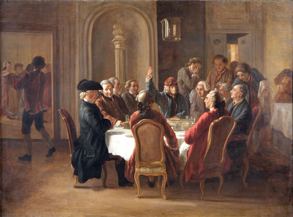 The Dinner of Philosophers, or La Sainte Cène du Patriarche, by Jean Huber circa 1772