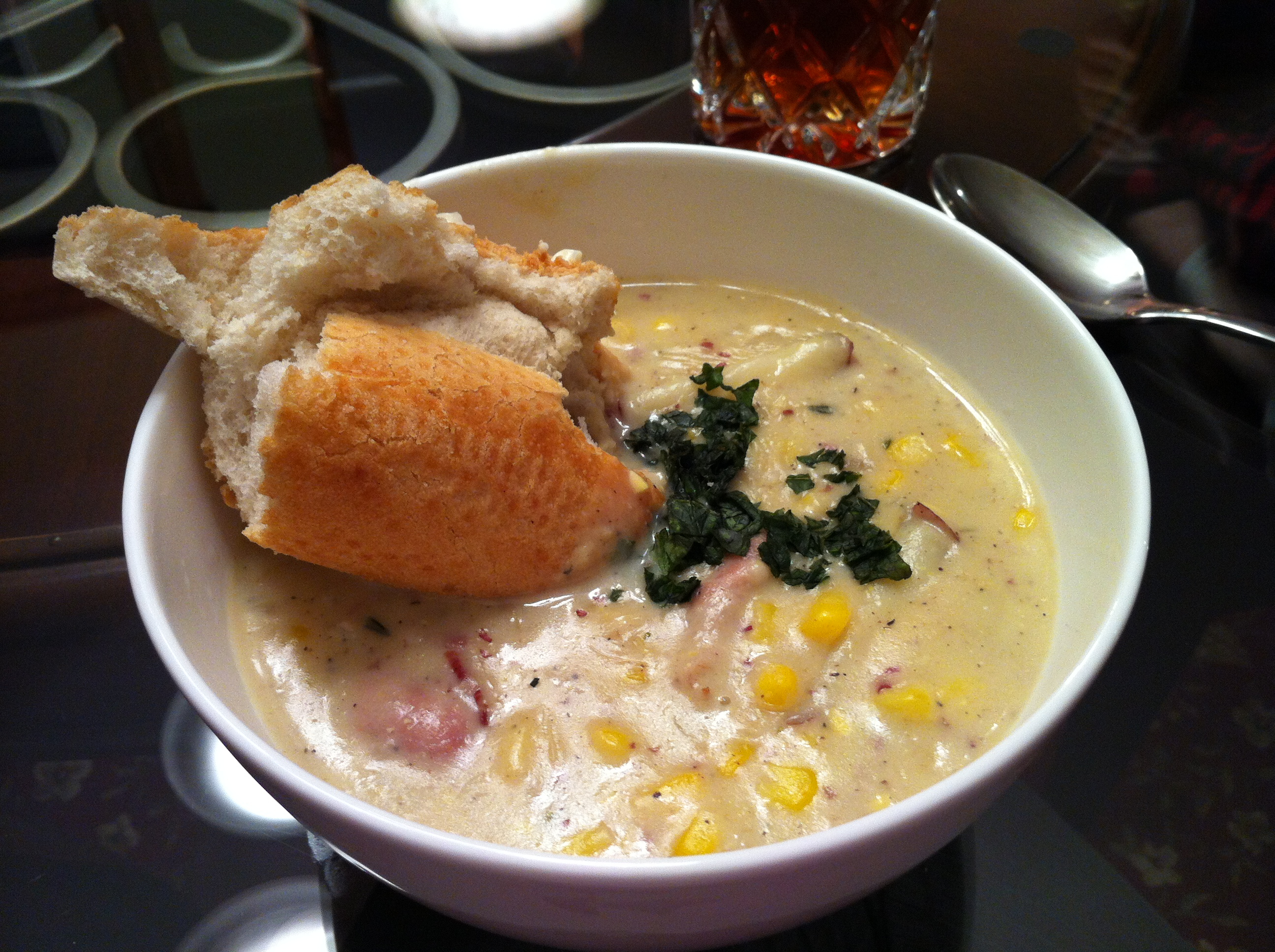 Finished Corn Chowder with Sweet Tea and French Baguette