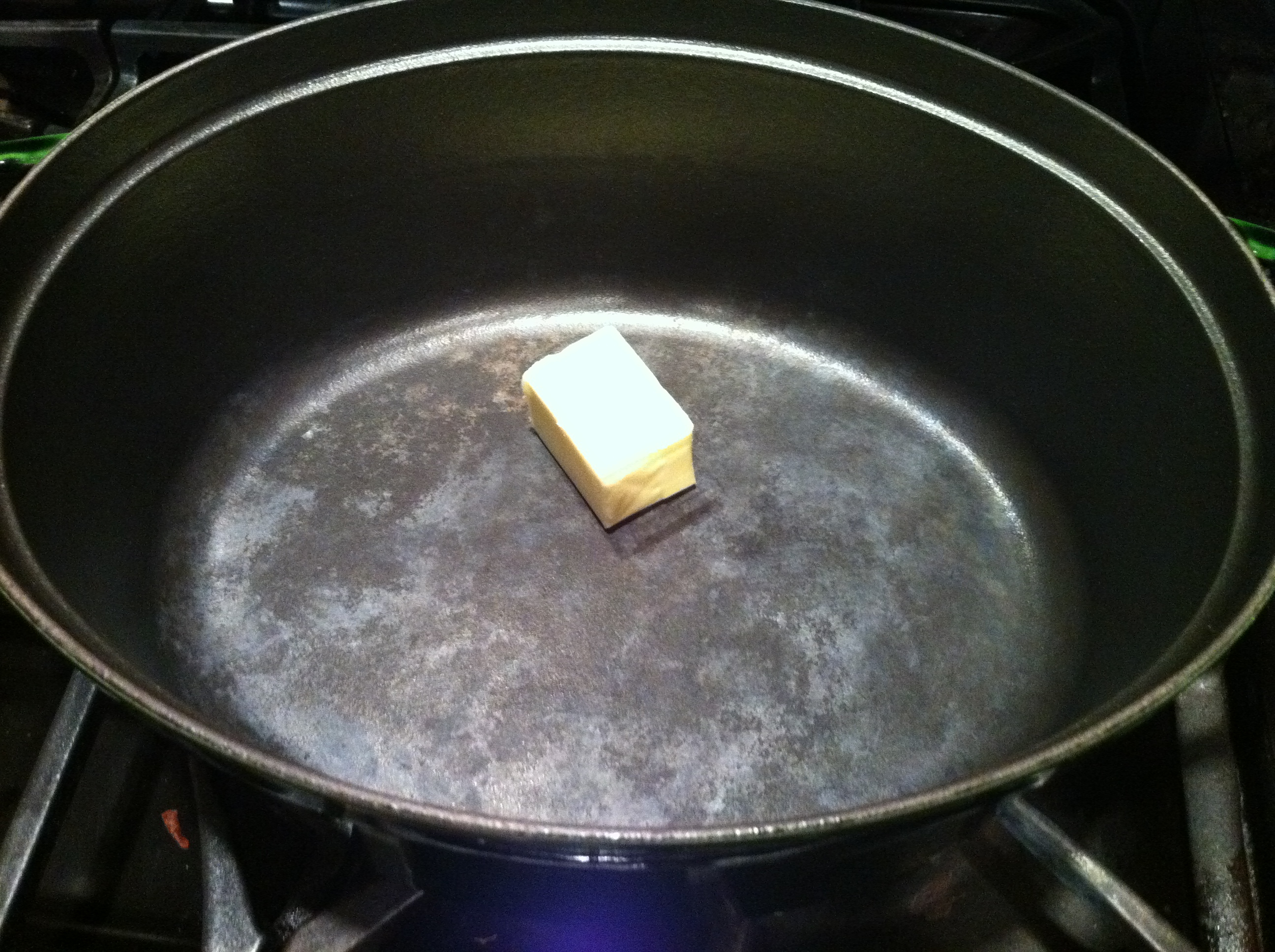 Melting Butter in the Staub Cookware for the Corn Chowder Recipe