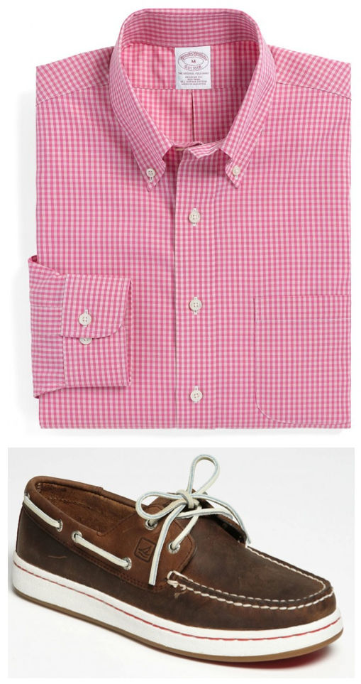 Sperry Top Siders and Pink Gingham Shirt