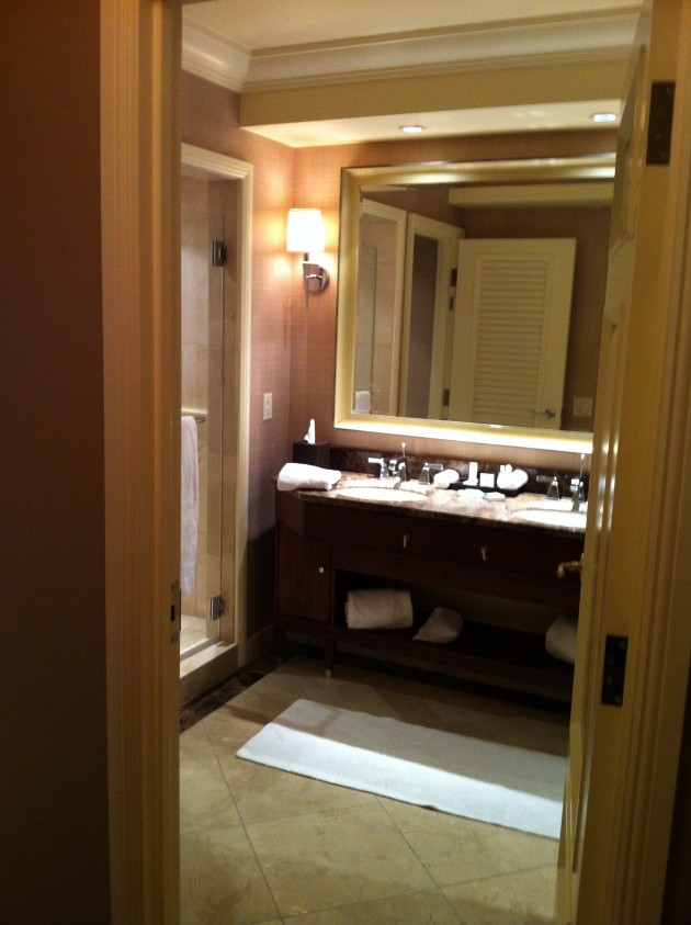 Bathroom from Entry Way of Ritz Carlton Denver Hotel Room