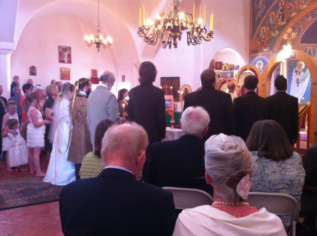 Molly Getting Married to Joshua in Santa Fe Greek Orthodox Wedding