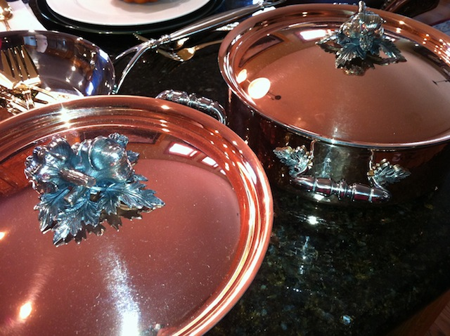 Putting Food in the Pots and Pans for Thanksgiving To Serve
