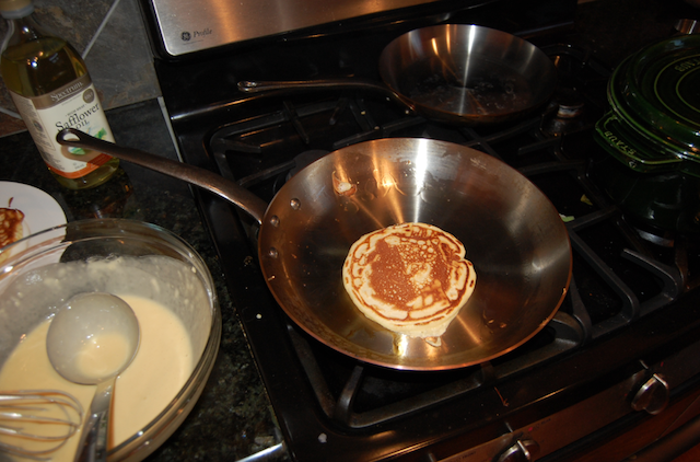 Buttermilk Pancakes Over Hot Copper Pan
