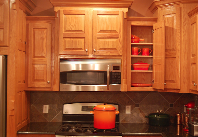 Le Creuset Flame Organized In Cabinet Kitchen