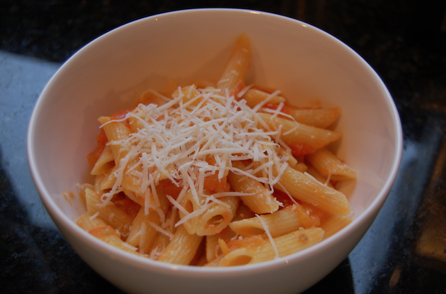 Tomato Butter and Onion Sauce over Penne Pasta