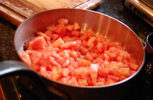 Tomatoes Cut in Sauce Pan