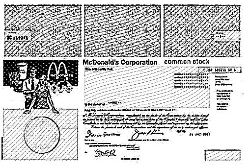 McDonald's Engraved Stock Certificate