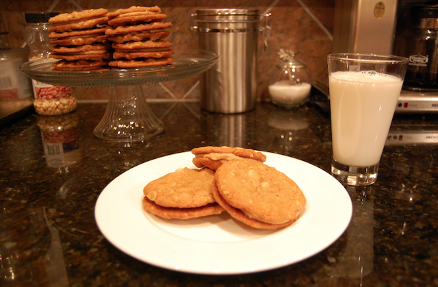 Peanut Butter Sandwich Cookies with Cold Milk
