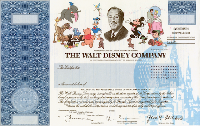 Walt Disney Company Common Stock Certificate