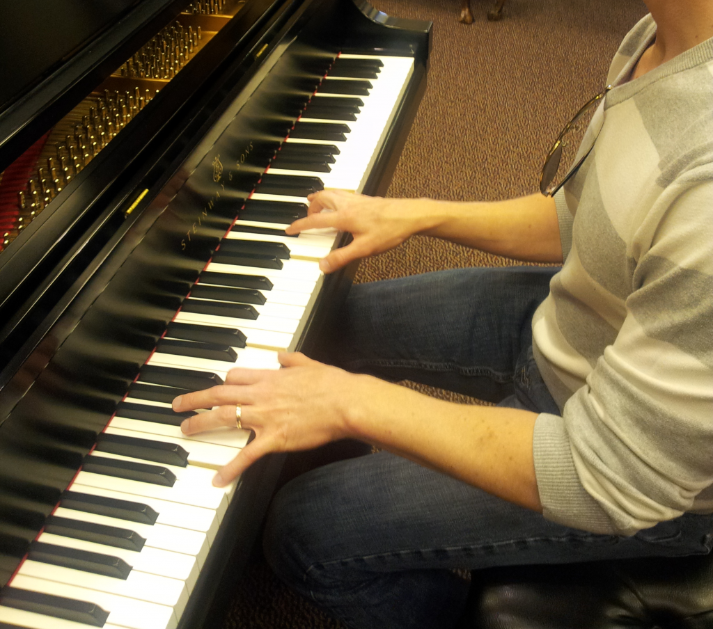 Aaron playing Steinway