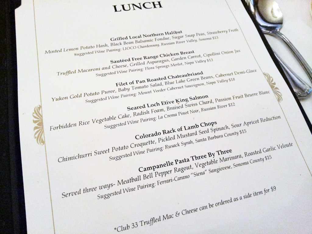 Club 33 Lunch Menu