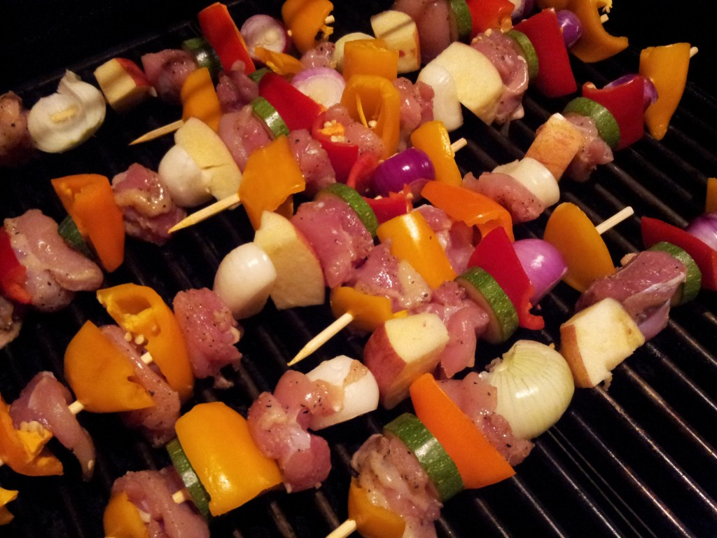 Raw Chicken and Vegetable Skewers Grill