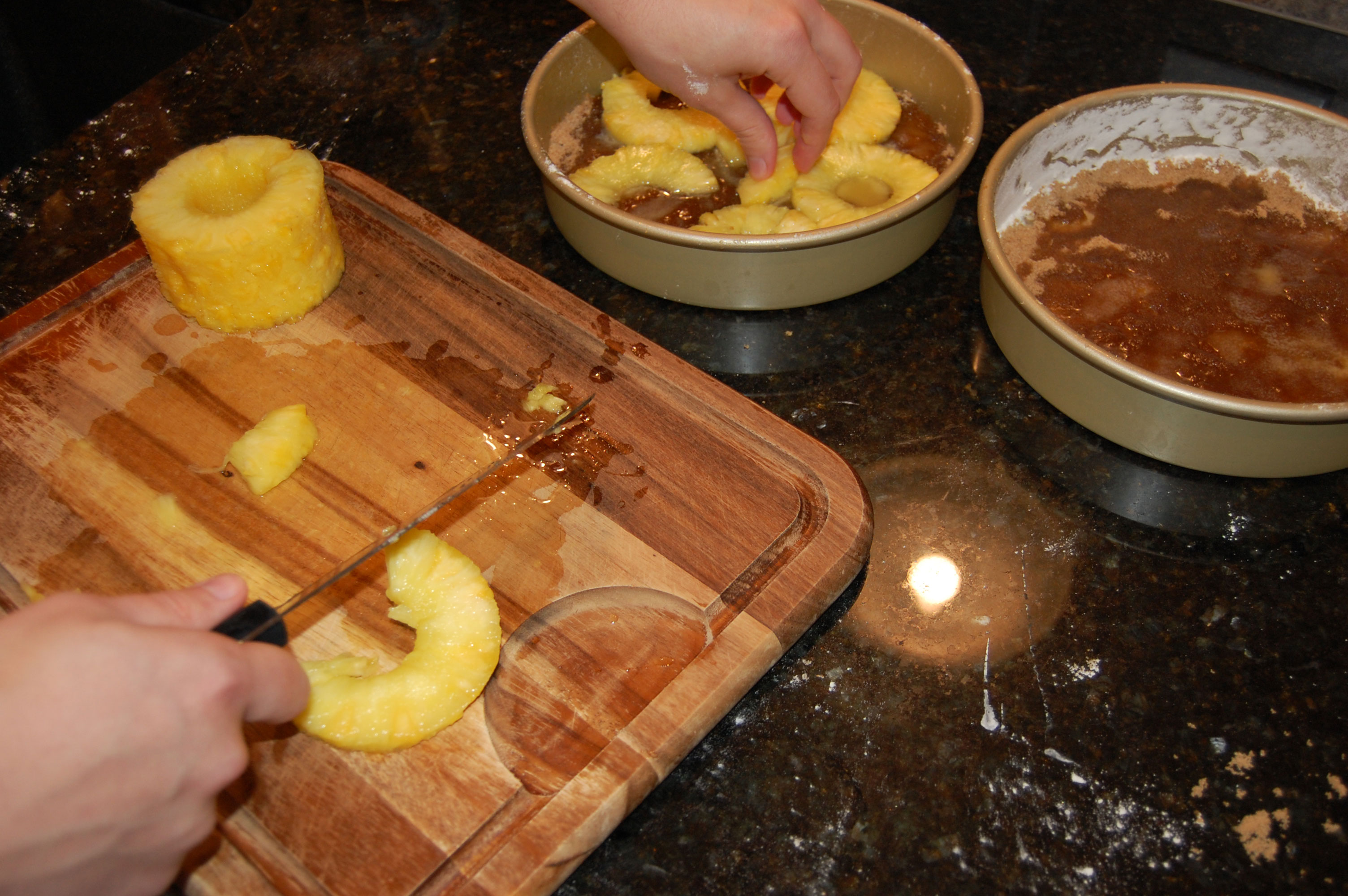 Putting Pineapples Into the Cake Pan